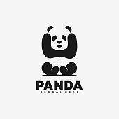 Vector Illustration Panda Negative space Style.