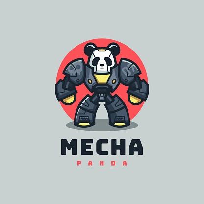 Vector Illustration Panda Simple Mascot Style.