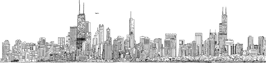 Vector illustration. Panorama of the Chicago skyline. Black and white Ink look.