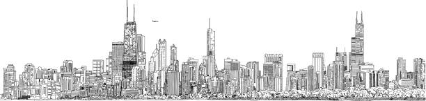 vector illustration. panorama of the chicago skyline. black and white ink look. - cityscape stock illustrations