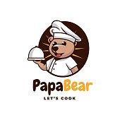 Vector Illustration Papa Bear Simple Mascot Style.