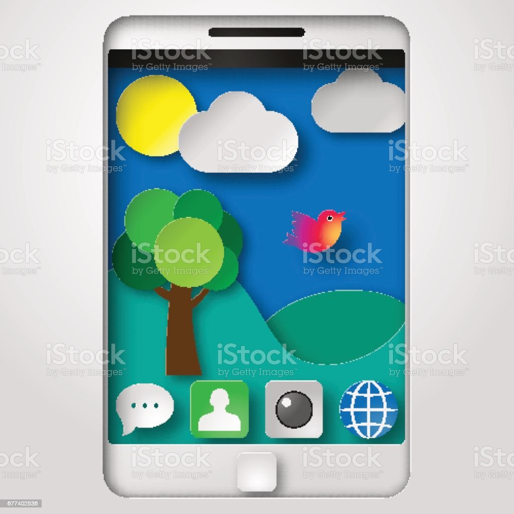 Vector illustration paper cut shadow box smartphone with icons and background vector art illustration