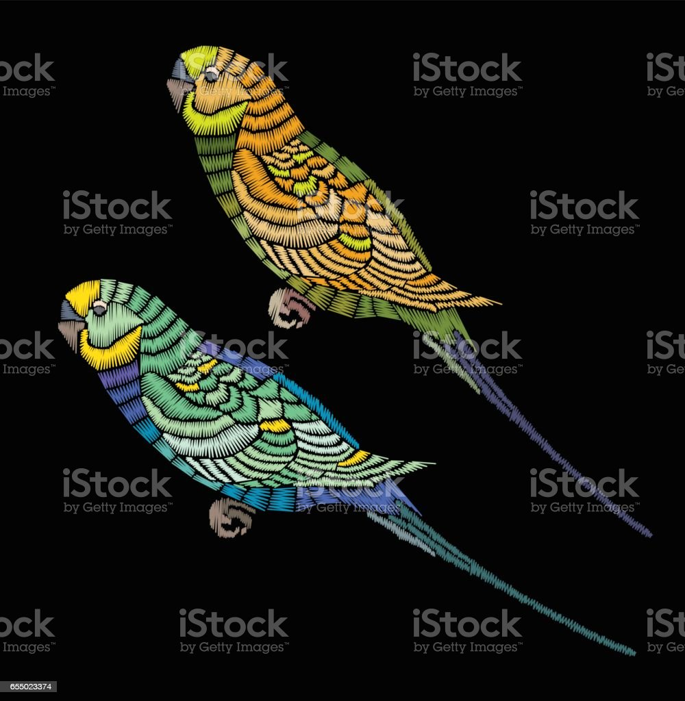 Vector illustration. Parrot embroidery. Embroidered bird. vector art illustration