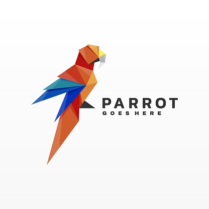 Vector Illustration Parrot Gradient Low Poly Style.