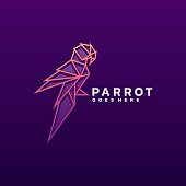 Vector Illustration Parrot Line Art Style.