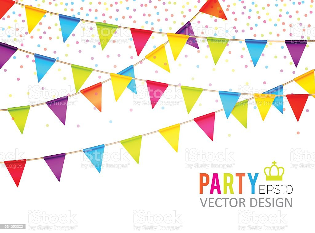 Vector Illustration Party Flags Design With Confetti Holiday