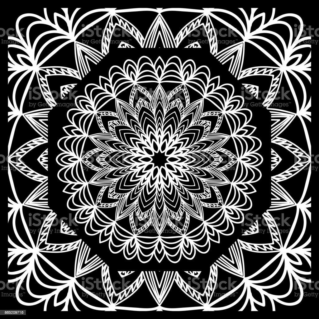 vektorillustration muster mit floralen mandala dekorative bord re design f r print stoff bandana. Black Bedroom Furniture Sets. Home Design Ideas