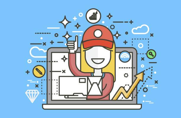 vector illustration hausierer parzellen träger frau verpackung box in der hand daumen hoch gestaltungselement für lieferung service-geschäft, online-bestellung, buchung management strichzeichnungen - laptoptaschen stock-grafiken, -clipart, -cartoons und -symbole