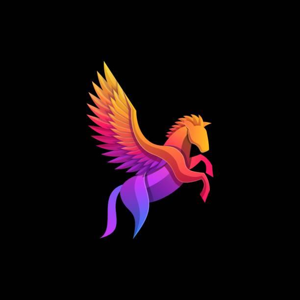 Vector Illustration Pegasus Gradient Colorful Style. Vector Illustration Pegasus Gradient Colorful Style. stallion stock illustrations