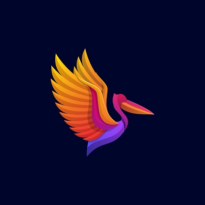 Vector Illustration Pelican Gradient Colorful Style.