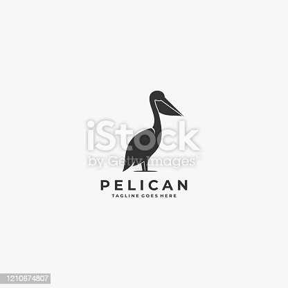 Vector Illustration Pelican Silhouette Style.