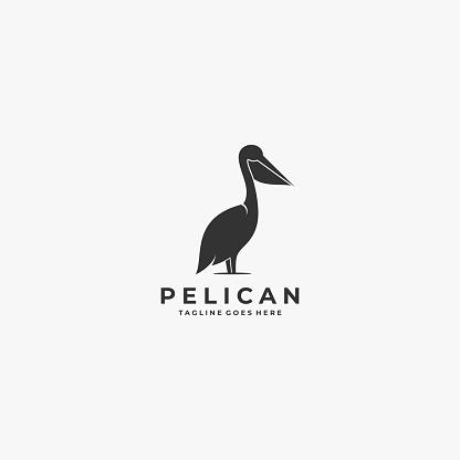 Vector Illustration Pelican Silhouette Style.