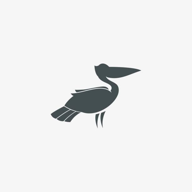 illustrations, cliparts, dessins animés et icônes de vector illustration pelican silhouette style. - animal eau