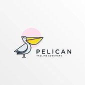 Vector Illustration Pelican Simple Mascot Cartoon Style.