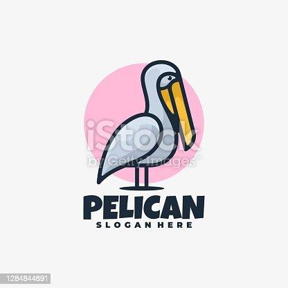 istock Vector Illustration Pelican Simple Mascot Style 1284844891