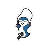 Vector Illustration Penguin Gyms Simple Mascot Style.