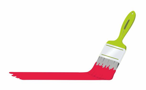 illustrations, cliparts, dessins animés et icônes de illustration vectorielle. pensel j'ai grön färg och målarfärg j'ai rött. texte kan placeras på pensel lokal som i färg défricher. - logo peintre en batiment