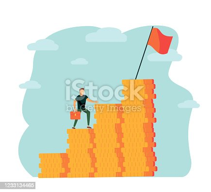 Vector illustration, people run to their goal on the column of columns, move up motivation, the path to the target's achievement - Vector illustration