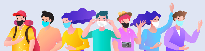 Vector illustration peoples wearing medical mask, Novel coronavirus (2019-nCoV), Concept of coronavirus quarantine.