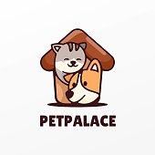 istock Vector Illustration Pet Palace Simple Mascot Style. 1267608872