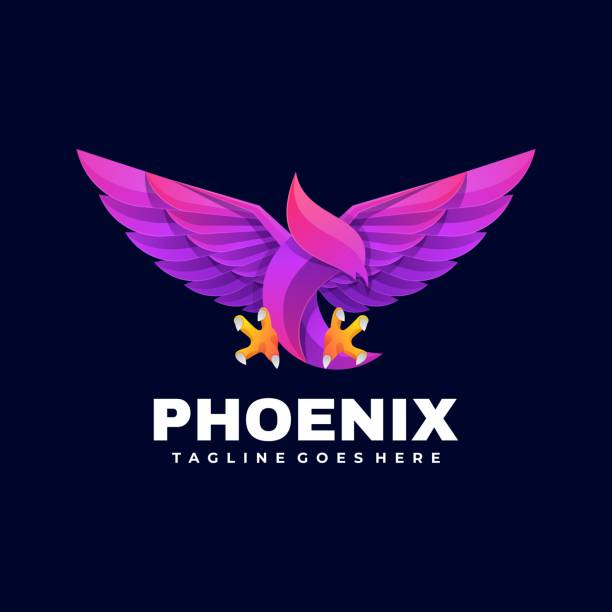 Vector Illustration Phoenix Gradient Colorful Style. Vector Illustration Phoenix Gradient Colorful Style. carnivorous stock illustrations