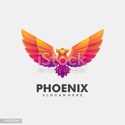 istock Vector Illustration Phoenix Gradient Colorful Style. 1252625451