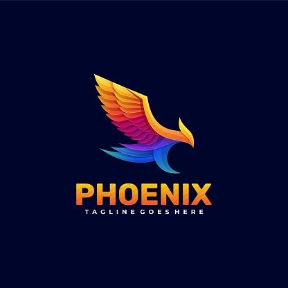 Vector Illustration Phoenix Gradient Colorful Style.