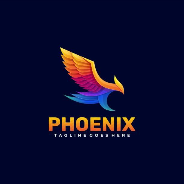 vektor-illustration phoenix gradient bunten stil. - gliedmaßen körperteile stock-grafiken, -clipart, -cartoons und -symbole