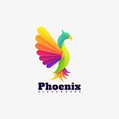 Vector Illustration Phoenix Gradient Colorful Style.