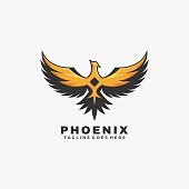 Vector Illustration Phoenix Simple Mascot Style.