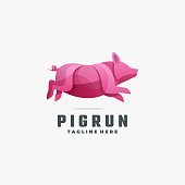 Vector Illustration Pig Gradient Colorful Style