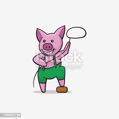 istock Vector Illustration Pig Hunter Simple Mascot Style. 1256052738