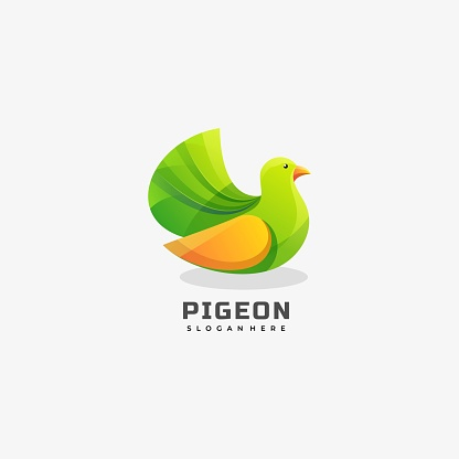 Vector Illustration Pigeon Gradient Colorful Style.