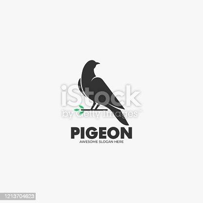istock Vector Illustration Pigeon Silhouette Style. 1213704623