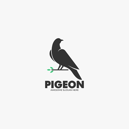 Vector Illustration Pigeon Silhouette Style.