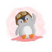 istock Vector Illustration Pilot Penguin Simple Mascot Style. 1255318906