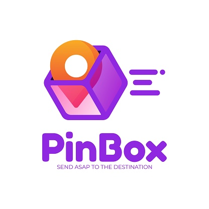 Vector Illustration Pin Box Gradient Colorful Style.