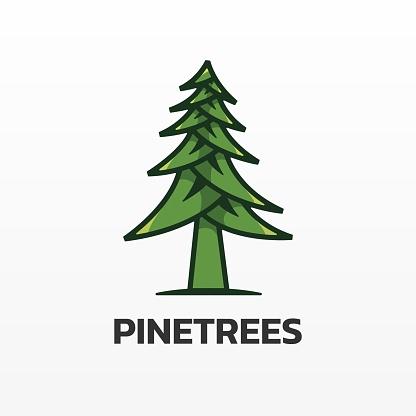Vector Illustration Pine Simple Mascot Style.