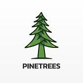 istock Vector Illustration Pine Simple Mascot Style. 1225136454