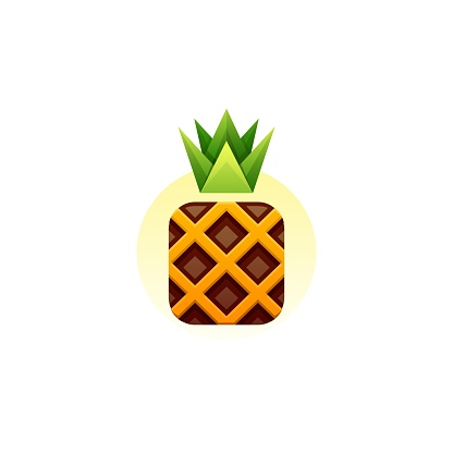 Vector Illustration Pineapple Gradient Colorful Style.