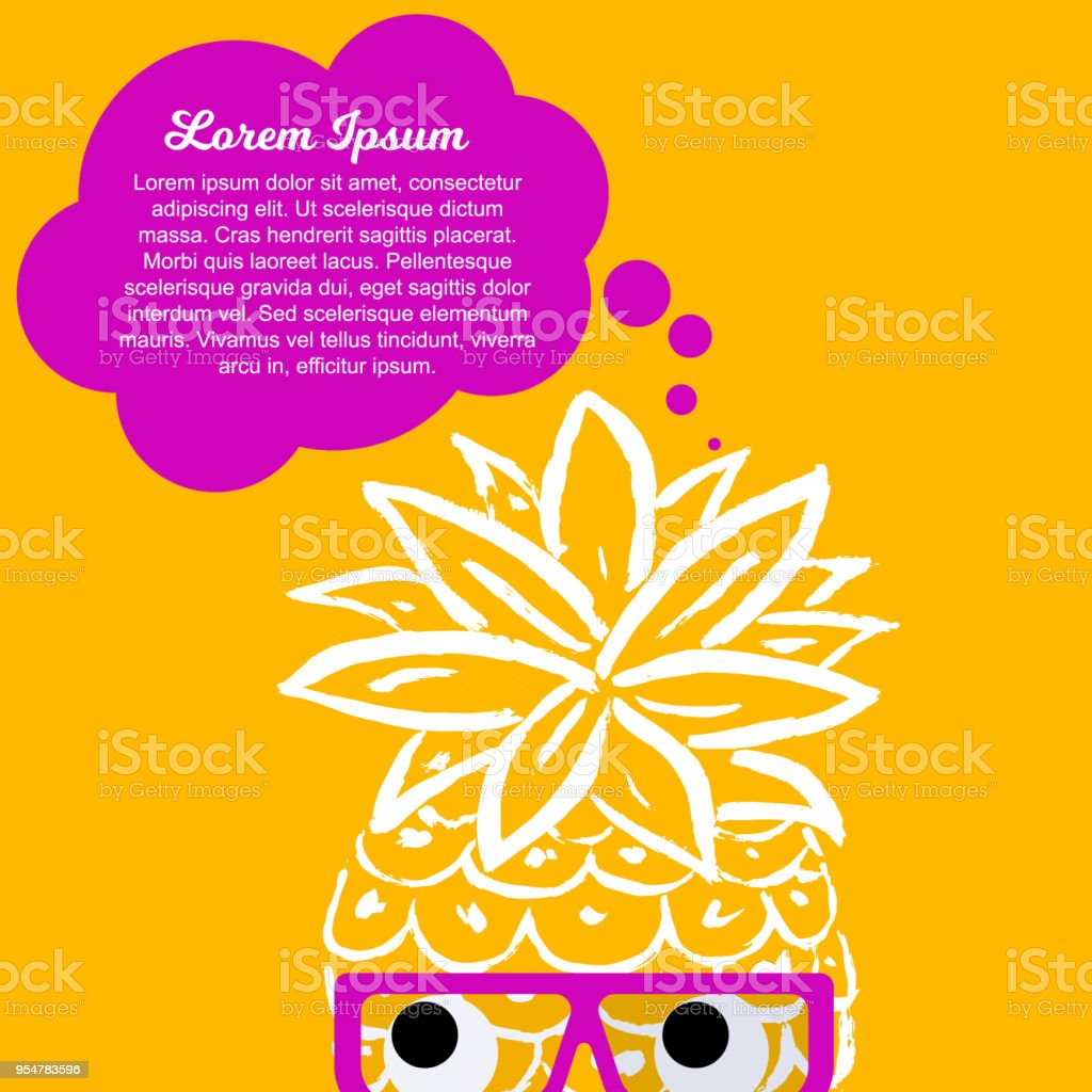 vector illustration pineapple hand draw design background for words