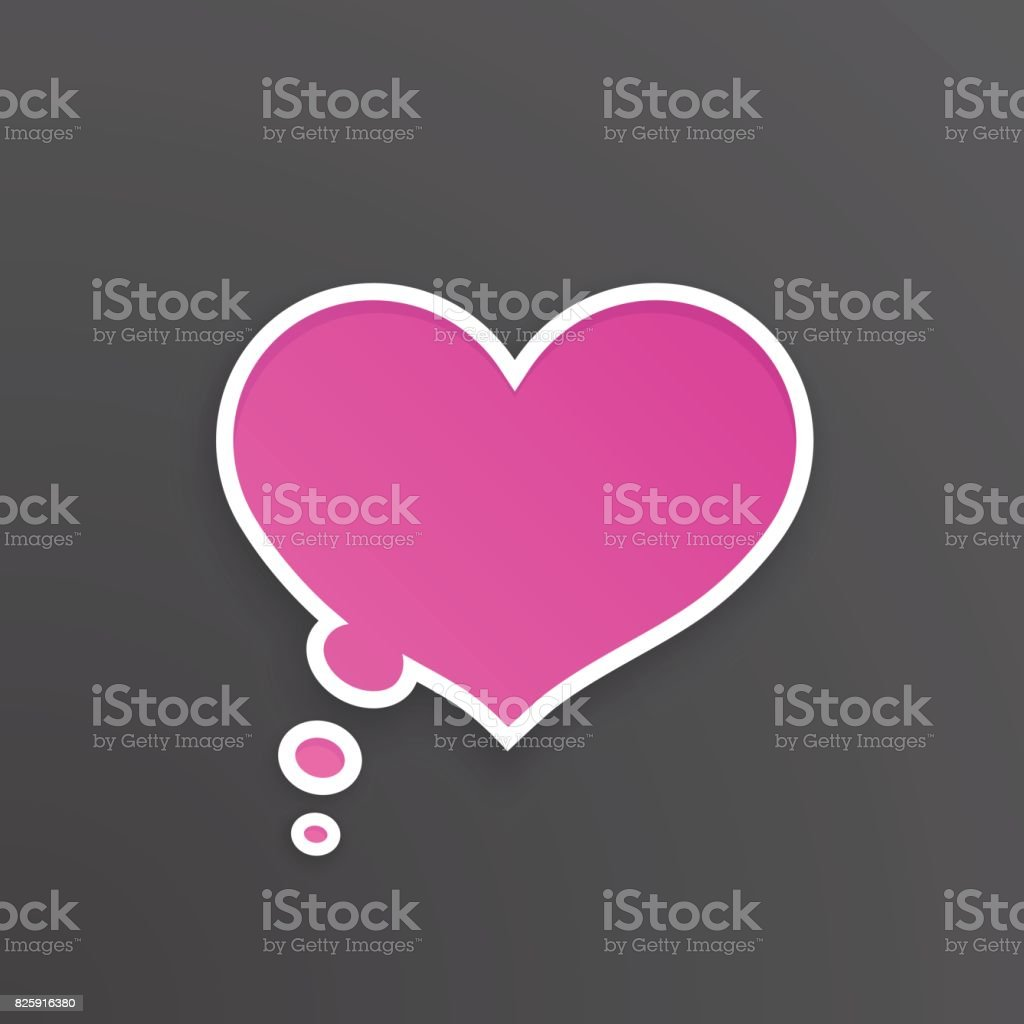 Vector illustration. Pink comic speech bubble for thoughts at heart shape with white contour. Empty shape in flat style for chat dialogs. Isolated on black background vector art illustration