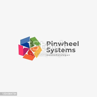 Vector Illustration Pinwheel Systems Colorful Style.