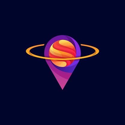 Vector Illustration Planet Pin Gradient Colorful Style.