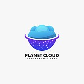 istock Vector Illustration Planet with Cloud Gradient Colorful Style. 1224317560