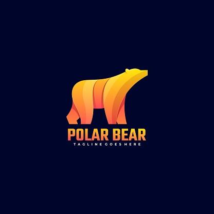 Vector Illustration Polar Bear Gradient Colorful Style.