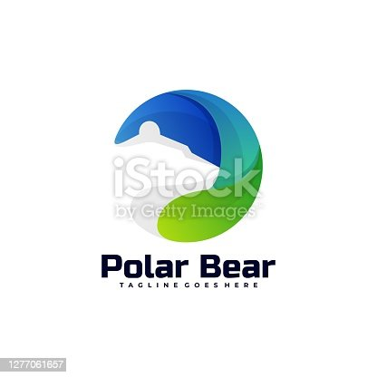 istock Vector Illustration Polar Bear Gradient Colorful Style. 1277061657