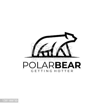 istock Vector Illustration Polar Bear Line Art Style. 1281189733