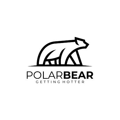 Vector Illustration Polar Bear Line Art Style.