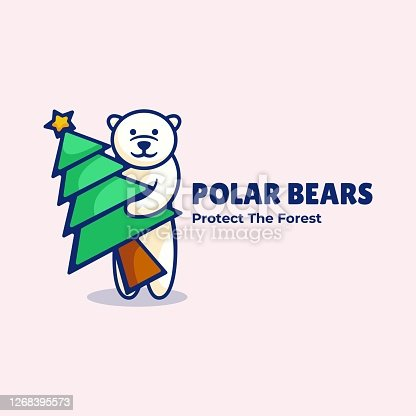 istock Vector Illustration Polar Bear Simple Mascot Style. 1268395573